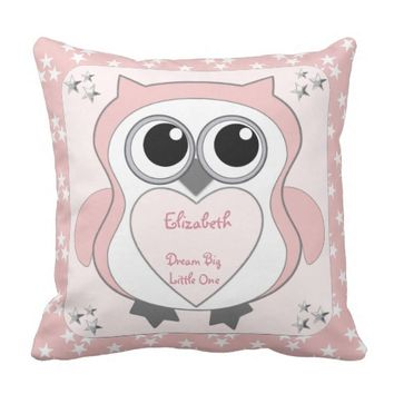 Owl Pillow Cushion Pink silver stars