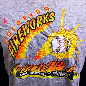 Vintage 1980s Amateur Softball T-Shirt Indie American Print Large