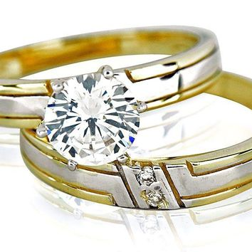 Women's 1 ct Solitaire Engagement Ring Simulated Diamond & Band 14k Yellow Gold