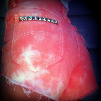 """Vintage High Waisted Tie Dye Studded Chic Cut Off Shorts 27"""" Waist"""