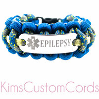 Custom Medical Alert Paracord ID Bracelet with Customizable Engraved Stainless Steel Charm ID Tag - Medical ID for Any Condition