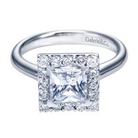1.65cttw Princess Cut Halo Diamond Engagement Ring with Plain Shank