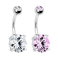 BodyJ4You Belly Ring Cubic Zirconia Clear Pink Steel Navel Button Barbell 14G Jewelry Set 2PCS
