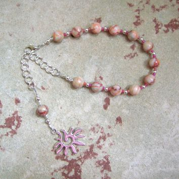 Eos Prayer Bead Bracelet in Red-lined Marble: Greek Goddess of the Dawn