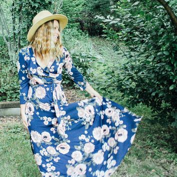 "the ""Charlie"" April Blooms floral wrap maxi dress"