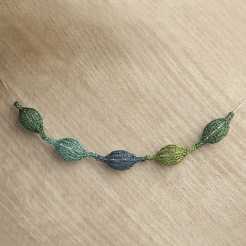 Wire Crochet Necklace - forest green organic necklace