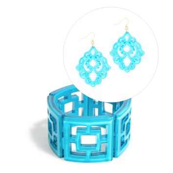 Resin Jewelry Gift Set Neon Blue
