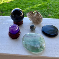 PROTECTION / GOUNDING SET Crystals Inc. Black Obsidian Sphere, Black Obsidian Palm Stone, Smokey Quartz, Amethyst, Spider Web Jasper Sphere