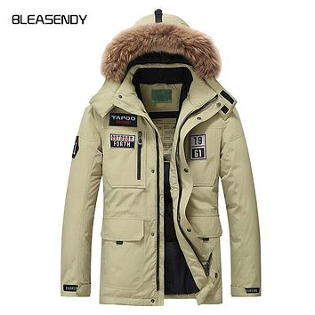 2017 Winter New Man Duck Down Jacket Fashion Hooded Long Feather Warm Casuals Coat Brand Clothing Khaki Black Red