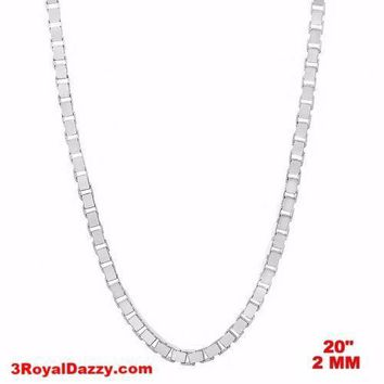 """Italy 14k white gold layered over Solid 925 sterling silver Box Chain - 2 mm 20"""""""