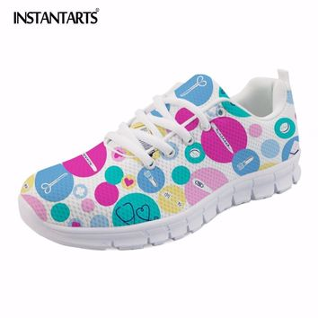 INSTANTARTS 2018 New Cartoon Nurse Printed Women's Flat Shoes Summer Breathable Mesh Sneakers Ladies Fashion Lace Up Flats Girls