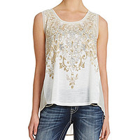 Miss Me Embellished Pleated-Back Tank - Cream
