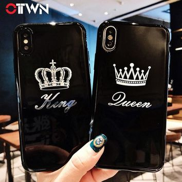 Ottwn Case For iPhone X 7 Plus Crown Letter King Queen For iPhone 8 6 6s Plus X Phone Cases Soft TPU Silicone Back Cover Coque