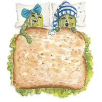 Original Watercolor - 8x10 Painting, Food Art, Sandwich Illustration, Funny Watercolour, Sleep