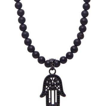 Men's Beaded Necklace with Matte Onyx and Hamsa Hand Pendant