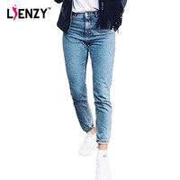 New 2016 Spring One Piece Casual Women Jeans High Waist Loose Straight Light Washed Blue Retro Jeans Denim Pants For Winter