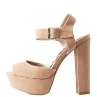 Taupe Peep Toe Chunky Platform Heels by Qupid at Charlotte Russe