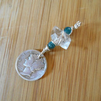 Herkimer Diamond Quartz Blue Apatite Bead Sterling Silver Wire Wrapped Charm Mercury Dime Pendant Charm Wire Wrapped Jewelry Handmade