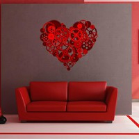cik1493 Full Color Wall decal Mechanical heart steampunk living room bedroom