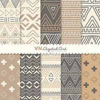"Digital Paper, Doodle Tribal, Aztec Digital Scrapbook Paper Pack (8.5x11""-300 dpi) - INSTANT DOWNLOAD -- 10 Digital papers -- 527"