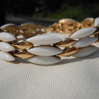 Crown Trifari Link Bracelet 7 inches White Navettes Gold Tone 1950s 1960s Mid Century Signed Jewelry Holidays Simple Wedding Bridal Bride