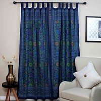 Handmade 100% Cotton Sunflower Floral Tab Top Curtain Drape Door Panel Navy Blue