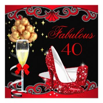 "Fabulous Red Heels Gold Black Birthday Party 2 5.25"" Square Invitation Card"