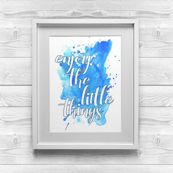 Printable Nursery Art | Enjoy the Little Things | Blue Printable Art | 8x10 Printable | Baby Boy Print | Printable Nursery Art