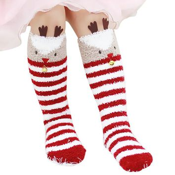 Christmas Season Reindeer Fleece Knee High Socks With A Bell
