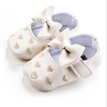 Fashion Online Baby Girl Princess Spotted Shoes Love And Bow Spring And Autumn Toddler Shoes Bow Pattern First Walk Shoes 2xz4