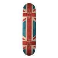 Keep Calm and Carry On Vintage Union Jack Flag Skateboard Decks from Zazzle.com