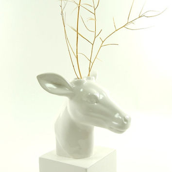 Deer Head Vase - White Deer Vase - White Faux Taxidermy - Table Top Decor - Holiday Decor - Ceramic Deer Sculpture