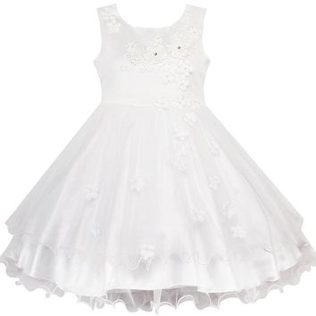 Flower Girls Dress White Wedding Pageant Bridesmaid Gown 2018 Summer Princess Party Dresses Girl Clothes Size 3-10 Sundress