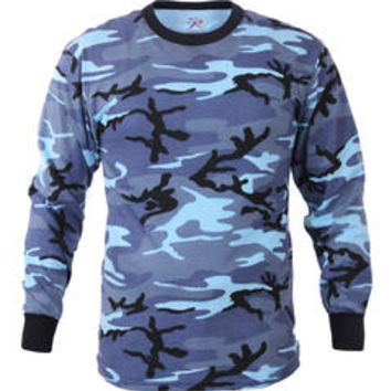 Sky Blue Camouflage Military Long Sleeve T-Shirt - Sears