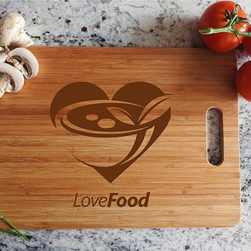 ikb440 Personalized Cutting Board Wood heart love meal restaurant kitchen