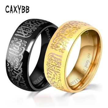 Stainless Steel Ring Men Women jewelry Arab Muslim Islam Allah God Messager Black Gold Silver Color Muhammad Quran Middle