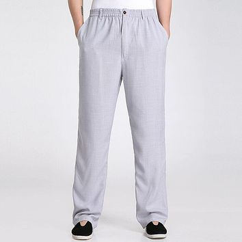 Top Selling Gray Men's Trousers Chinese Traditional Style Spring Autumn Cotton Linen Pants Size S M L XL XXL XXXL 2350-17B