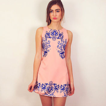 Peach China Dress