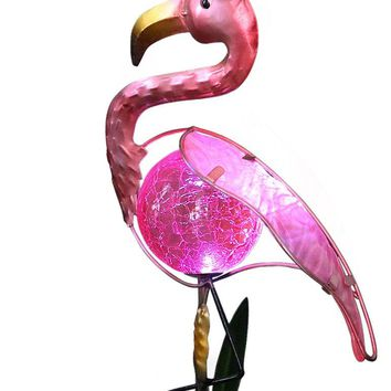"BRIGHT ZEAL 8"" Tall METAL Pink FLAMINGO LED Solar Stake Lights - Flamingo Solar Lights Outdoor Lighting - Solar Decorative Garden Lights - Pink Flamingo Lawn Ornaments -Flamingo Decor Yard Decorations"