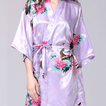 Casual Peacock Floral Printed Kimono Satin Nightgown