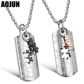 AOJUN Couple Necklaces Titanium 316L Stainless Steel Puzzle Necklace For Mens Womens Jewellery For Lovers Best Friends Jewelry