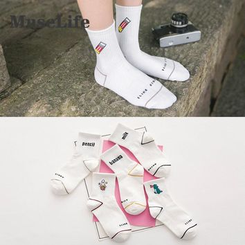 Women's Kawaii Milk Banana Dinosaur Pencil Rocket Cartoon Socks meias Novelty Illustration Letter White Cute Cotton Sock