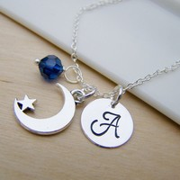 Moon and Star Charm Swarovski Birthstone Initial Personalized Sterling Silver Necklace / Gift for Her