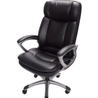 Ergonomic Black Faux Leather Office Chair with Arms - Big & Tall