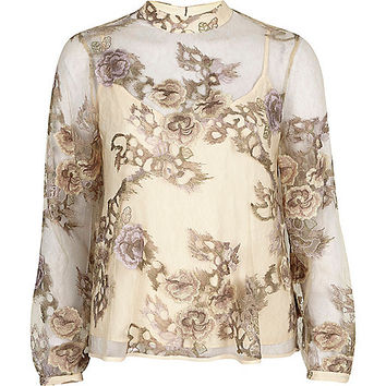 Cream floral embroidered lace high neck top