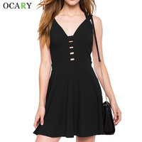 Casual Women Summer Dress Chic Hollow Out Street Sundress Backless Sexy Dresses Cute Mini Dress Plus Size