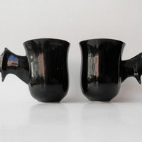 Ceramic Coffee Mugs, Bat Mugs, Handmade, Unique Modern Ceramic Design, Black Pottery