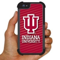 Indiana University - iPhone 5 BruteBoxTM Case - Stripe Background - 2 Part Rubber and Plastic Protective Case