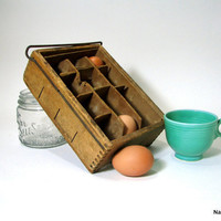 1900s Egg Crate Wooden Carton Box Sectioned Kitchen by Nachokitty