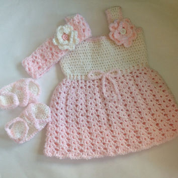 Handmade crochet baby girl summer dress set, photo drop, crochet baby girl dress